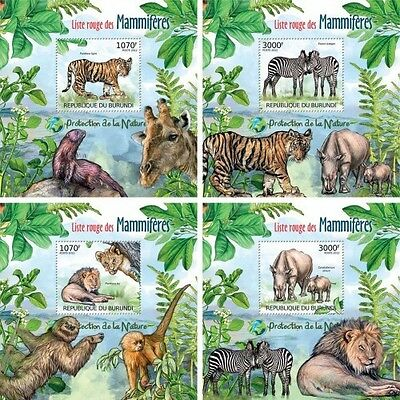 Z08 Imperforated BURdelux30 BURUNDI 2012 Red List of Mammals 4 x s/s MNH
