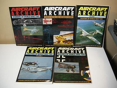 (5) ARGUS Books Aircraft Archives WWII Detailed Drawing Publication Bombers 80s
