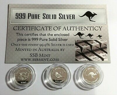 Set of 3, 999 Pure Silver 1 Gram coins, Roo, Koala, Kookaburra, with Certificate