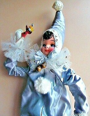vintage Christmas elf pixie doll, blue, 1940's, 24""