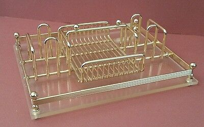 Vintage Mid Century Lucite Gold Tone Condiment Tray Hollywood Regency Desc