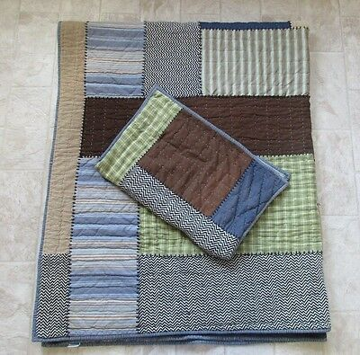Pottery Barn Teen Cotton Wool Blend Twin Reversible Patchwork/Striped Quilt/Sham
