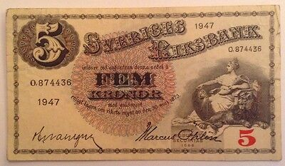 Sweden Banknote. 5 Kronor. Dated 1947