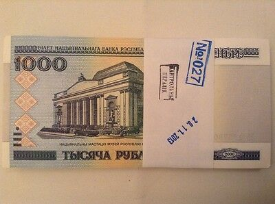 100 x 1000 ruble banknote bundle. Belarus. Uncirculated. Dated 2000.