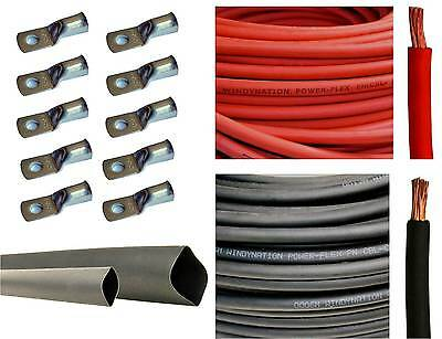 1/0 Gauge 1/0 AWG Red or & Black Welding Battery Cable + Cable Lugs Heat Shrink