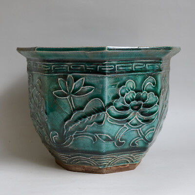 Nice Chinese Antique Green Glazed Porcelain Flowerpot With Flowers Plants