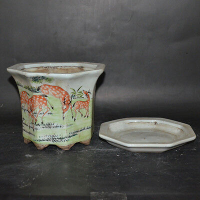 Nice Chinese Antique Famille Rose Porcelain Flowerpot With Deer