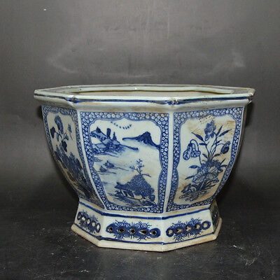 Nice Chinese Antique Blue&White Porcelain  Flowerpot With Flowers Plants