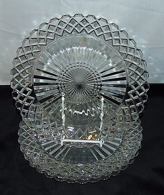 "4 Hocking WATERFORD/WAFFLE CRYSTAL *9 5/8"" DINNER PLATES*"