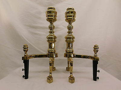 Vermont Metal Casting Vm Pair Of Brass Andirons Cast Iron Footed