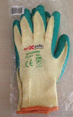 2 X Maxisafe Rubber Latex Green Grippa Garden Gloves Size L (x2 pairs)
