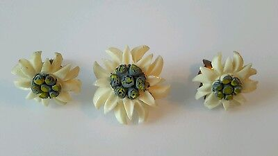 Vintage Carved Swiss Alpine Edelweiss Brooch & Earring Set. Excellent Condition.