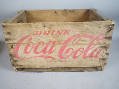 Antique Vintage Wooden Coca Cola Soda Crate Carrier Box w/ Red Script