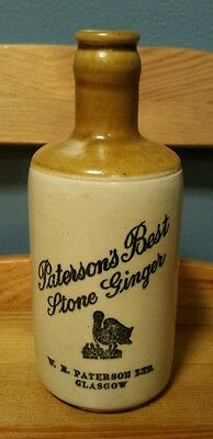 Antique Paterson's Best Stone Ginger Beer Bottle Glasgow Scotland Neat Graphics!