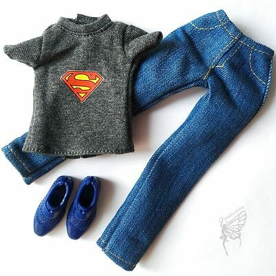 Barbie doll Fashion clothes superman T-shirt set shoes for KEN doll