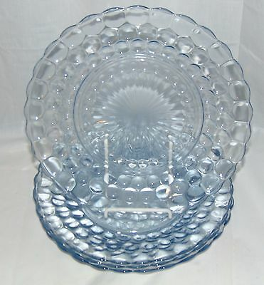 """4 Anchor Hocking BUBBLE BLUE *9 3/8"""" DINNER PLATES*"""