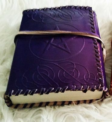 Leather bound pentacle/pentagram journal/diary/book of shadows wicca dream