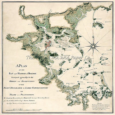 American Revolution Map A Plan Of The Bay & Harbor of Boston 24x24 Giclee Print