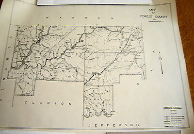 Vintage Forest County Pa Wall Map