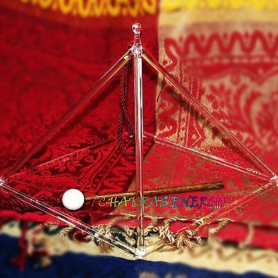 "10"" large and strong crystal singing pyramid for energy therapy healing"