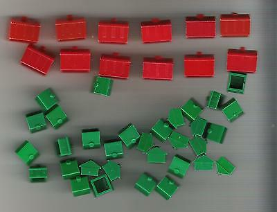 Monopoly Game Parts - 12 red hotels + 32 green houses (center chimney) plastic