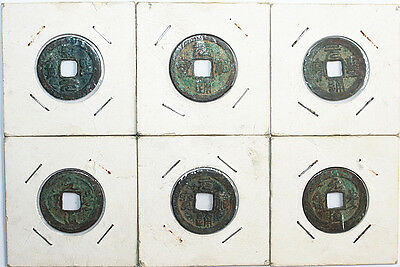 China Song Dynasty Bronze Cash Coins Lot (6) VF