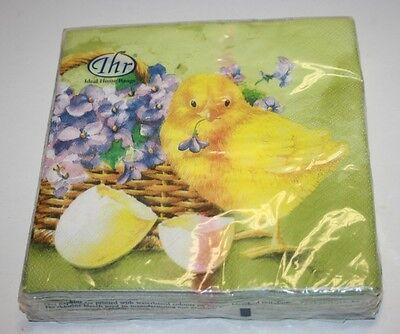 Ideal Home Range 20 Count Easter Paper Cocktail Napkins Chicken Eggs Decoupage