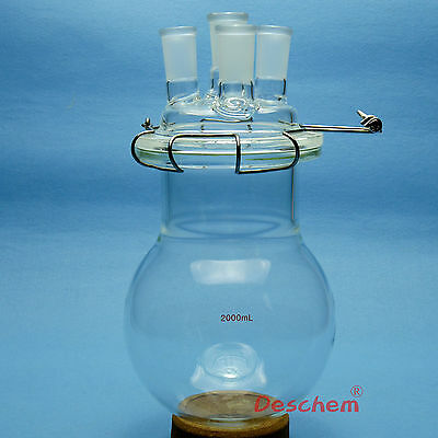 2000ml,24/40,Glass Reaction Flask,2L,Four Necks Chemistry Reactor,W/Lid & Clamp