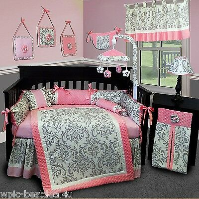 Baby Boutique - Grey Damask - 15 pcs Nursery Crib Bedding Set
