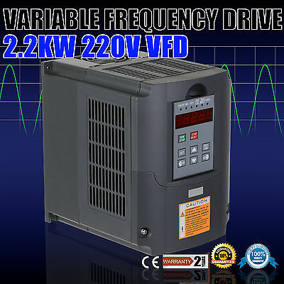 Updated 2.2KW 220V 3HP 10A VFD Variable Frequency Drive Speed Control 3 Phase CE