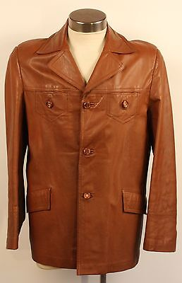 LARGE 44, BROWN MENS LEATHER JACKET. STYLED BY SIMON KESSEL. 1970's VINTAGE.