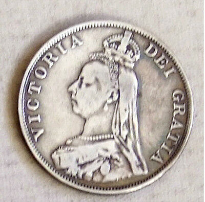 VICTORIAN SILVER DOUBLE FLORIN / 4 SHILLINGS COIN 1889 - 22g - INVERTED 1