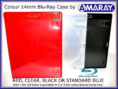 Amaray RED,CLEAR or BLACK Blu-Ray Case [Holds 1 disc,upgradeable to 2/3 disc]