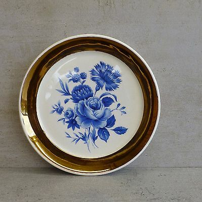 Vintage Wade Pottery Pin Dish Blue Bouquet with Gold Trim Made in England 11cm
