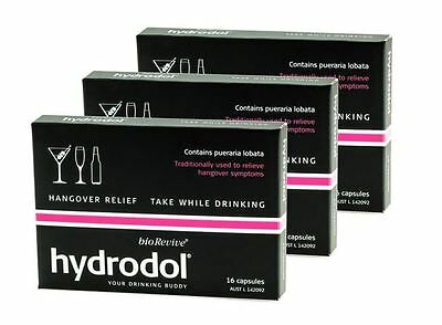 3 x Hydrodol 16 Capsules Alcohol Hangover Relief - Free Postage!