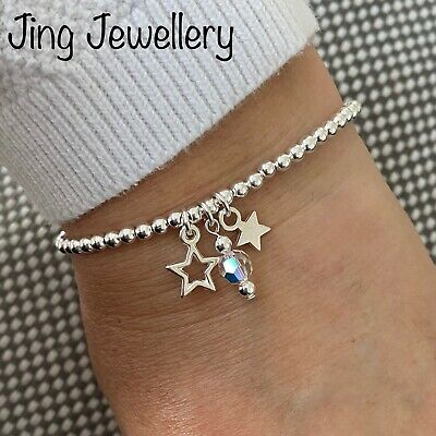 Star & Crystal Silver Plated Stacking Bracelet ~ Stretch Elastic Handmade