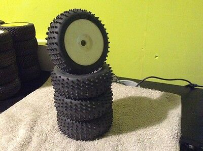 RC 1/8th Buggy Wheels And Spiked Tyres X4 Hyper Losi Hpi Nitro Electric