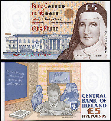 IRELAND 5 POUNDS (P75br) 1999 MMM- REPLACEMENT UNC