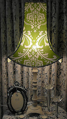 Green & White Damask One Of A Kind Lampshade For Large Chic Vintage Table Lamp