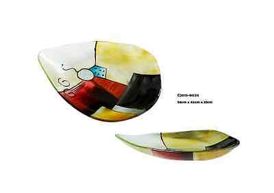 New Hand Made Fused Glass Plate Golden Beach Fruit Bowl 56*46*10cm