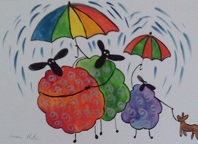 "Fridge Magnet Quirky Sheep in the Rain  large  4.25"" by 5.5"" By Casimira Mostyn"