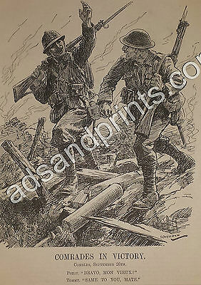 Combles Capture 1916 WW1 Original Punch Print British French Soldiers in Victory
