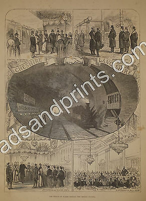 Mersey Tunnel Opening 1886 Large Genuine Vintage Victorian Print Cheshire Lancs