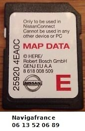 cartes SD europe 2015 GPS Nissan Qashqai Juke Note Micra X-Trail ...