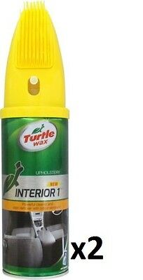 2x Turtle Wax Interior 1 Car Upholstery & Carpet Cleaner & Stain Remover + Brush