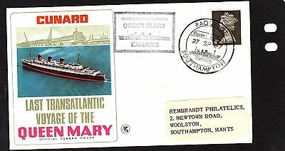 21/9/1967 UK GB FDC - Last Transatlantic Voyage of The Queen Mary -posted at sea