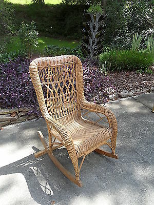 Beautiful Antique/Vintage Wicker Rocking Chair - Never Painted!!!