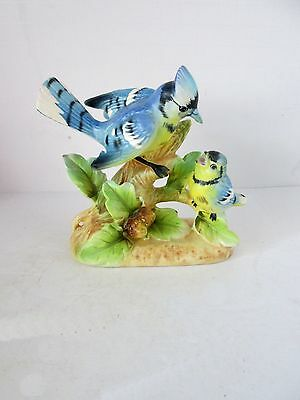Vintage Nesting Blue Jay Figurine made by Relco Creation Japan Handpainted