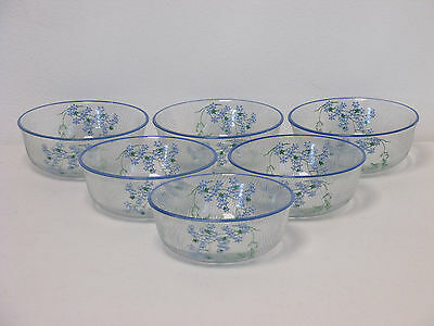 Vintage 1940s/1950s Set of Six Small Clear & Blue Glass Floral Design Bowls