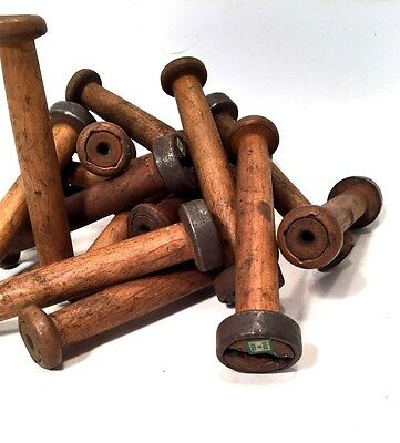 Textile Bobbins Spools Spindles Vintage Wooden Imported 16 Quills fm India
